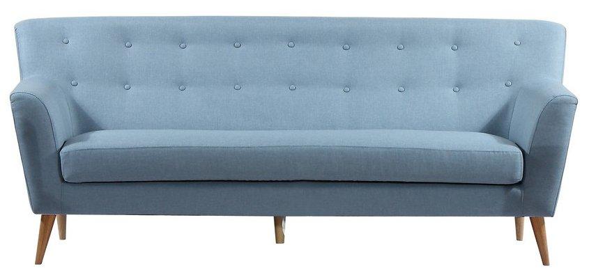 Dueblå retro-sofa med høj ryg