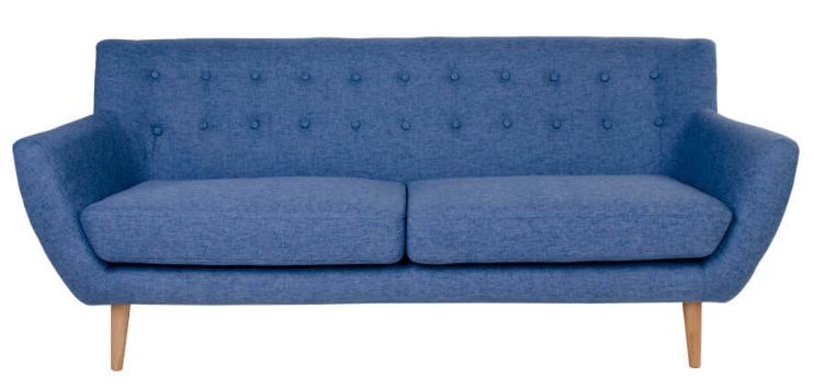 Monte: 3-personers sofa i blåt stof og med træben