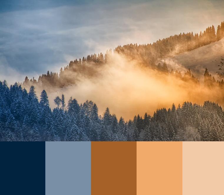 Blå og terracotta er et godt farve-match