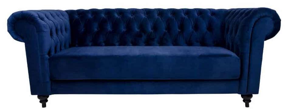 Tidløs sofa i mørkeblå velour