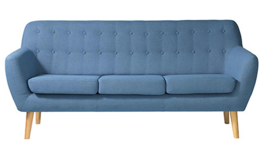 Blå stofsofa i 50'er retro-look