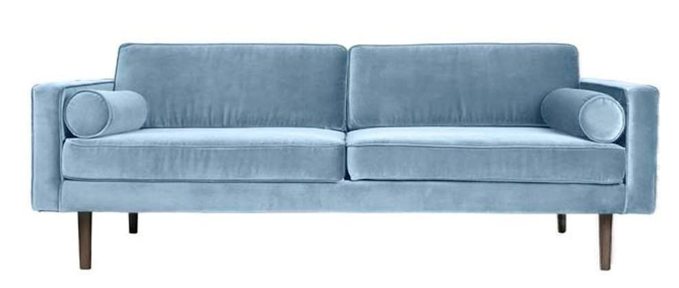 Wind: Lys blå sofa i velour til 3 personer