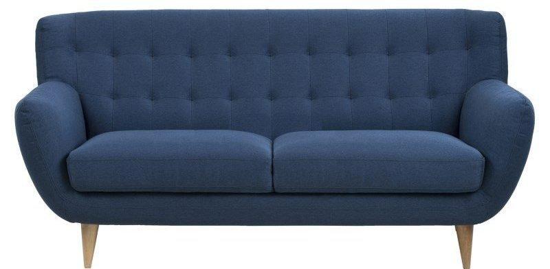 Oswald: Blå 3-personers sofa i stof og med træben