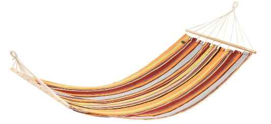 Billig hængekøje med striber i gul og rød