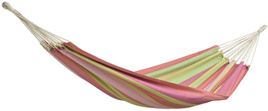 Hængekøje med striber i grøn og pink