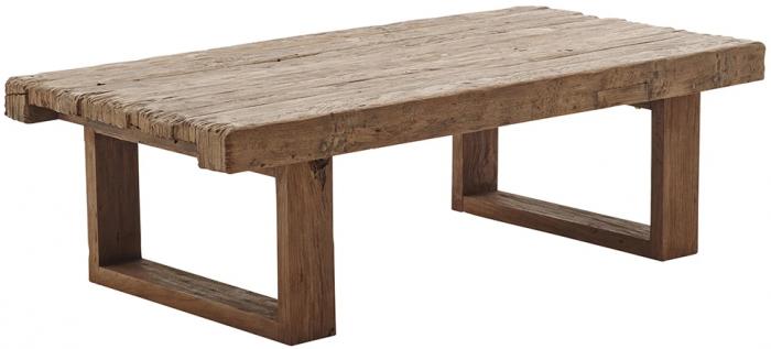 Aflangt sofabord i genbrugs-teak