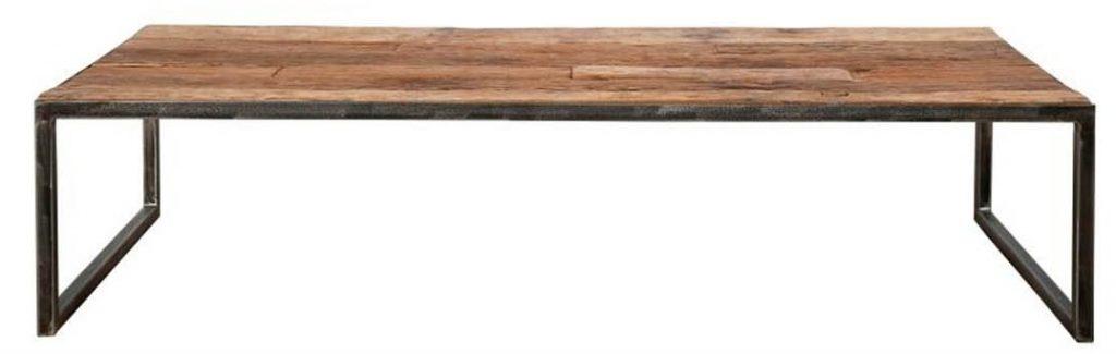 Rektangulært sofabord med sort stel i metal